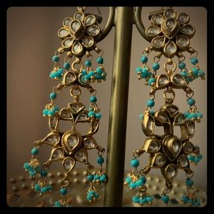Tourquoise and gold drop pierced earrings